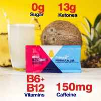 Real Ketones Prime D+ Exogenous Keto D BHB + MCT with Caffeine Drink Mix Powder, 28 Packets with Electrolytes, Piña Colada