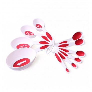 Yangli 10pcs Measuring Cups and Spoons Set with Wall Hanger Ring- 4 colours available