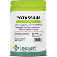 Lindens Potassium 200mg Tablets | 100 Pack | with 50mg Vitamin C