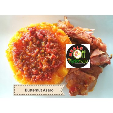 Butternut (Asaro) with pepper sauce and Chicken or Fish