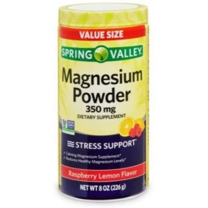 Spring Valley Magnesium Stress Support Powder Raspberry Lemon, 350mg, 8 oz
