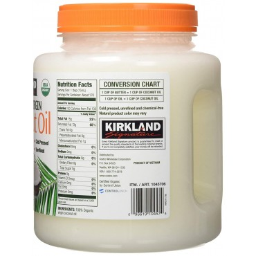 Kirkland Signature Organic Virgin Coconut Oil Cold Pressed Unrefined, 84 Fl Oz